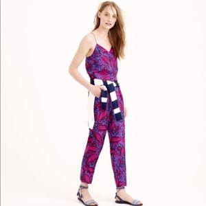 J crew. Midnight floral silk jumpsuit